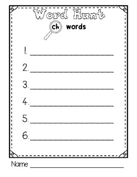 Beginning Sounds Word Hunt/Write the Room: Digraph CH