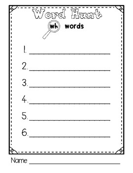 Beginning Sounds Word Hunt/Write the Room: Digraph WH