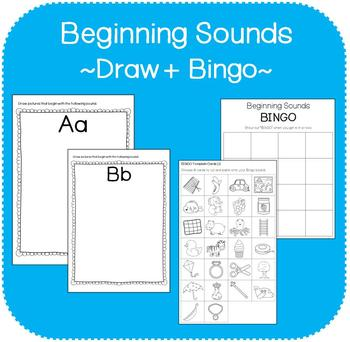 Beginning Sounds Workbook (Draw + Bingo)