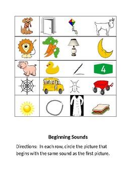 Beginning Sounds Worksheet #1