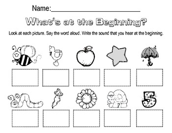 beginning sounds worksheet by megan harmon teachers pay teachers. Black Bedroom Furniture Sets. Home Design Ideas