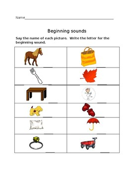 Beginning Sounds Worksheet #2