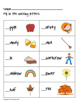 Language Arts - Beginning Sounds Worksheet Pack