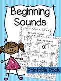 Beginning Sounds Printable Worksheet Pack - Pre-K Kindergarten First Grade