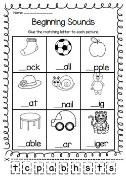 Beginning Sounds Printable Worksheet Pack - Pre-K Kindergarten First Grade