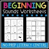 Beginning Sounds Worksheets - Beginning Sounds Literacy Center Activities