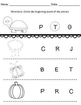 Beginning Sounds Worksheets (Match & Identify)
