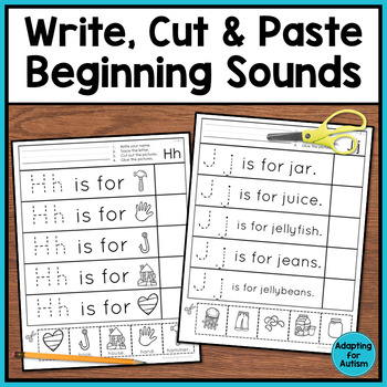 Beginning Sounds Worksheets: Cut and Paste Activities for Special Education