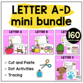 Beginning Sounds Worksheets Letter A to Letter D Mini BUNDLE