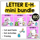 Beginning Sounds Worksheets Letter E to Letter H Mini BUNDLE