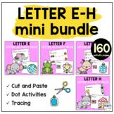 Beginning Sounds Worksheets Letter E to Letter H Mini BUNDLE