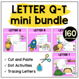 Beginning Sounds Worksheets Letter Q to Letter T Mini BUNDLE