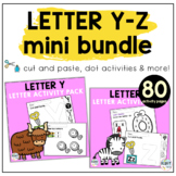 Beginning Sounds Worksheets Letter Y to Letter Z Mini BUNDLE