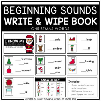 Beginning Sounds Write & Wipe Book: Christmas Edition