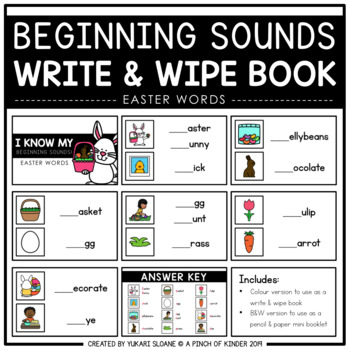 Beginning Sounds Write & Wipe Book: Easter Words