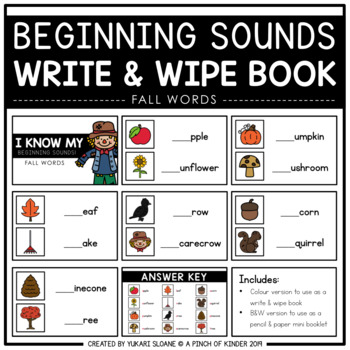 Beginning Sounds Write & Wipe Book - Seasons Bundle -