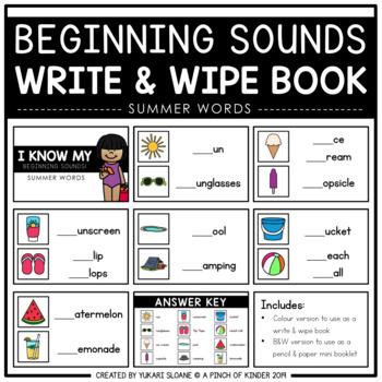 Beginning Sounds Write & Wipe Book: Summer Words
