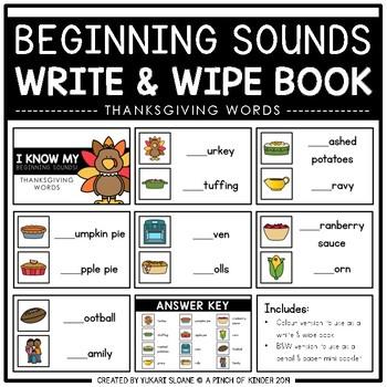 Beginning Sounds Write & Wipe Book: Thanksgiving Words