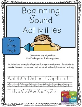 Beginning Sounds Writing Activities (A to Z) No Prep Bundle