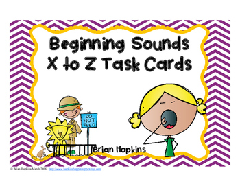 Beginning Sounds X to Z Task Cards FREEBIE