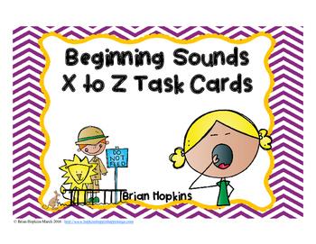 Beginning Sounds X to Z Task Cards FREEBIE