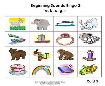 Beginning Sounds and Letters - Bingo Cards 3