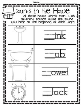Phonics: Word Work:Beginning Sounds and Vocabulary Pages for K-2 and ELL
