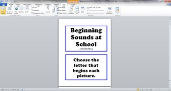Beginning Sounds at School Task Cards