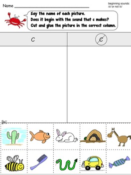 Beginning Sounds: /c/ or not (cut and paste)