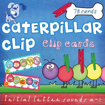 Beginning Sounds - clip cards - Caterpillar Clip