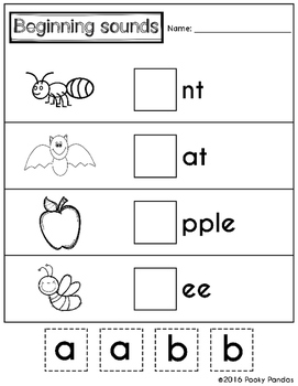 Beginning Sounds - cut and paste