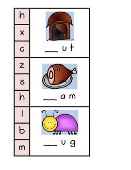 Beginning Sounds for 3 Letter Words Clip Cards