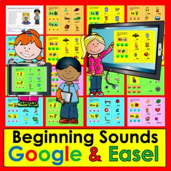 Digital Beginning Sounds - Google Slides Kindergarten & Fi