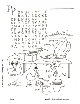 BEGINNING SOUNDS  Pictured Word Searches COLOR  REVIEW Vocabulary  Grades 1-2
