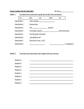 beginning spanish introduction conversation worksheet by sra salemno. Black Bedroom Furniture Sets. Home Design Ideas
