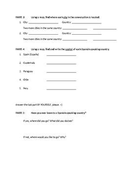 Beginning Spanish Introduction Conversation Worksheet