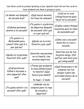 Beginning Spanish Speaking Prompt Cards