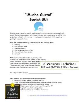 Beginning Spanish Write Your Own Skit - ¡Mucho Gusto!