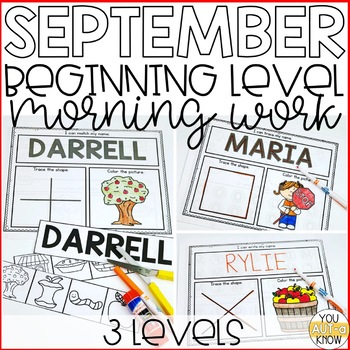 Beginning Special Education Morning Work: September Edition {3 Levels!}