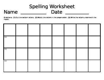 Beginning Spelling Worksheet EDITABLE TEMPLATE
