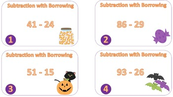Beginning Subtraction with Borrowing Task Cards {{Halloween Theme}}
