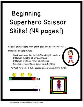 Beginning Superhero Scissor Skills! Cutting prek 1 2 3 RTI / MTSS 44 pages
