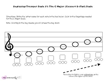 Beginning Trumpet - The C Major (Concert B-flat) Scale Worksheet