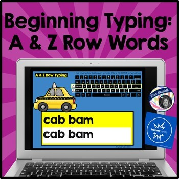 Beginning Typing Practice: Middle & Bottom Row Words (A & Z Rows)