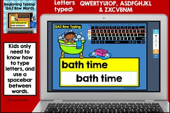 Beginning Typing Practice: Q, A & Z Row Words BOOM CARDS
