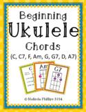 Beginning Ukulele Chord Charts: C, C7, F, Am, G, G7, D, A7