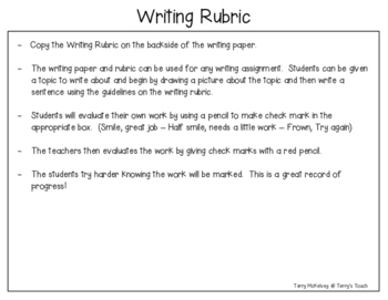 Beginning Writing Paper and Rubric
