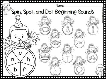 Beginning a New Year:  NO PREP New Year Beginning Sounds Bingo Dauber Activities