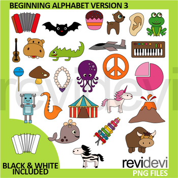 Beginning alphabet clipart version 3