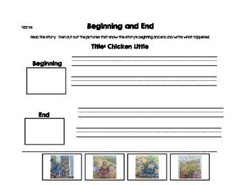 Beginning and End Picture Stories Activity Version 2 with Writing